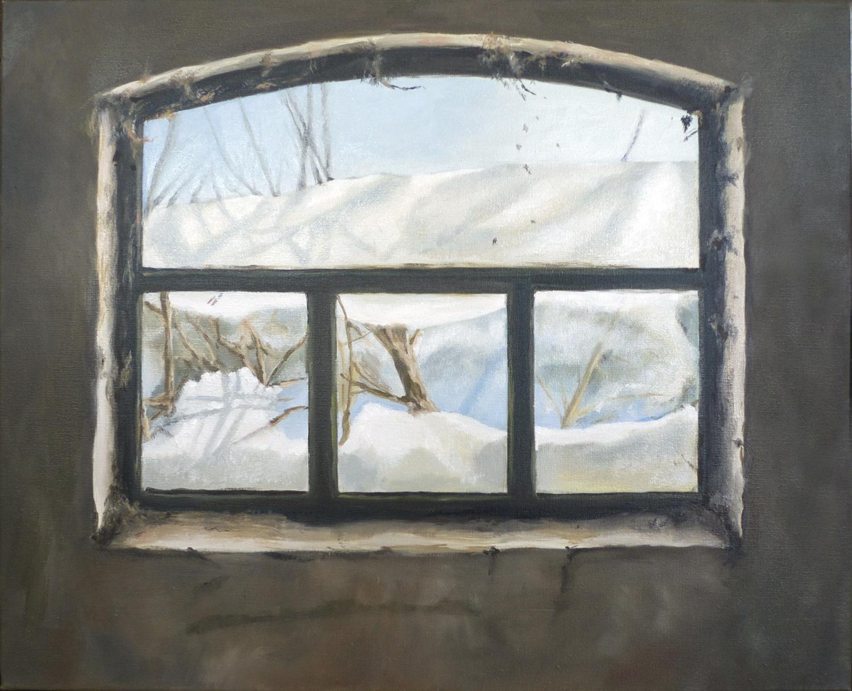 barn window with snow