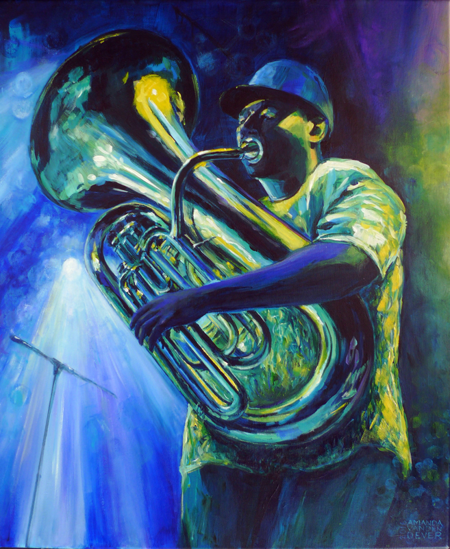 Jazz music, tuba player