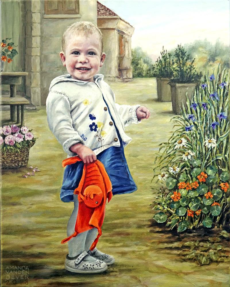 Aimée, kinderportretje in olieverf.