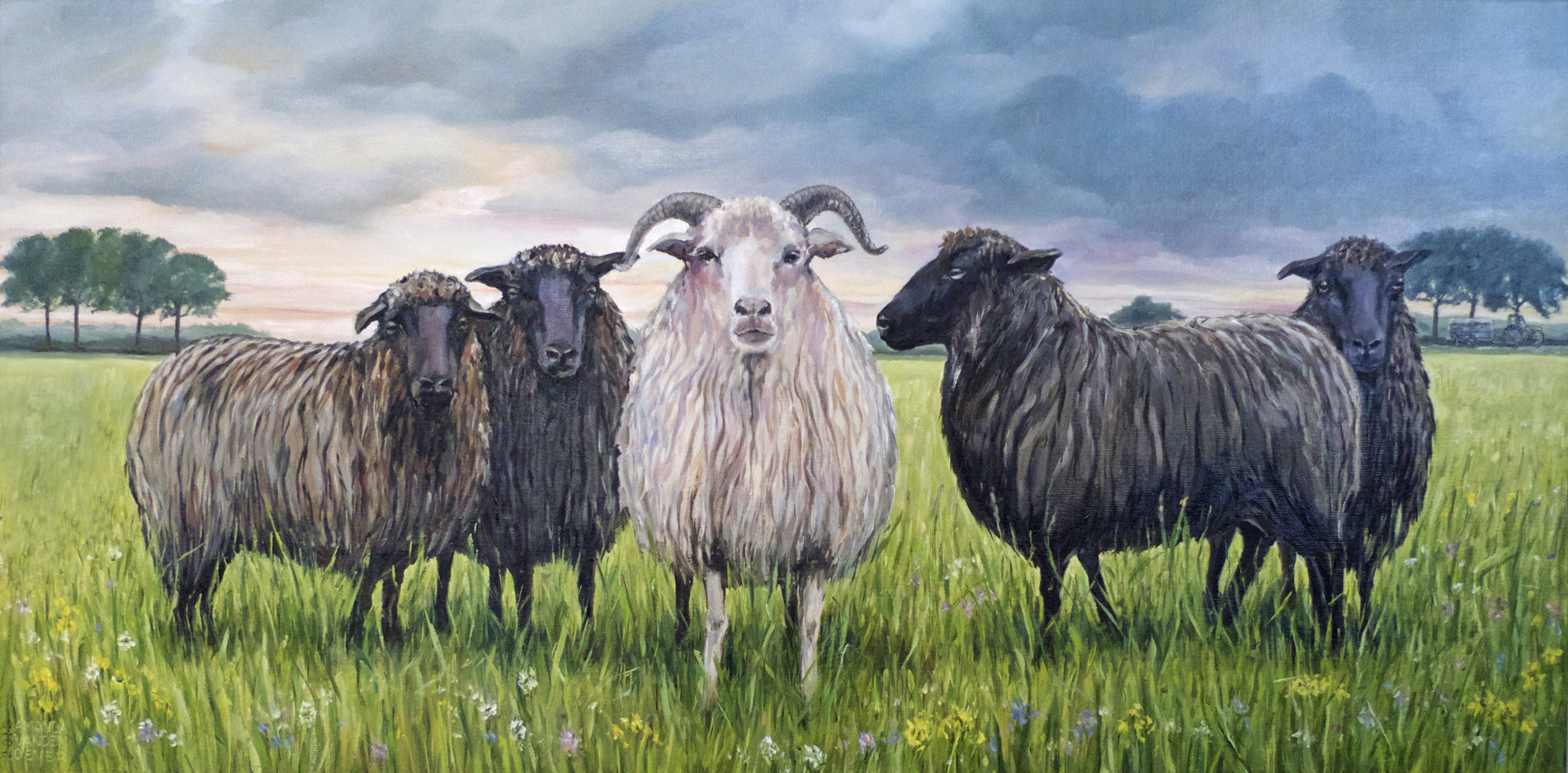 sheep in the meadow oil paint