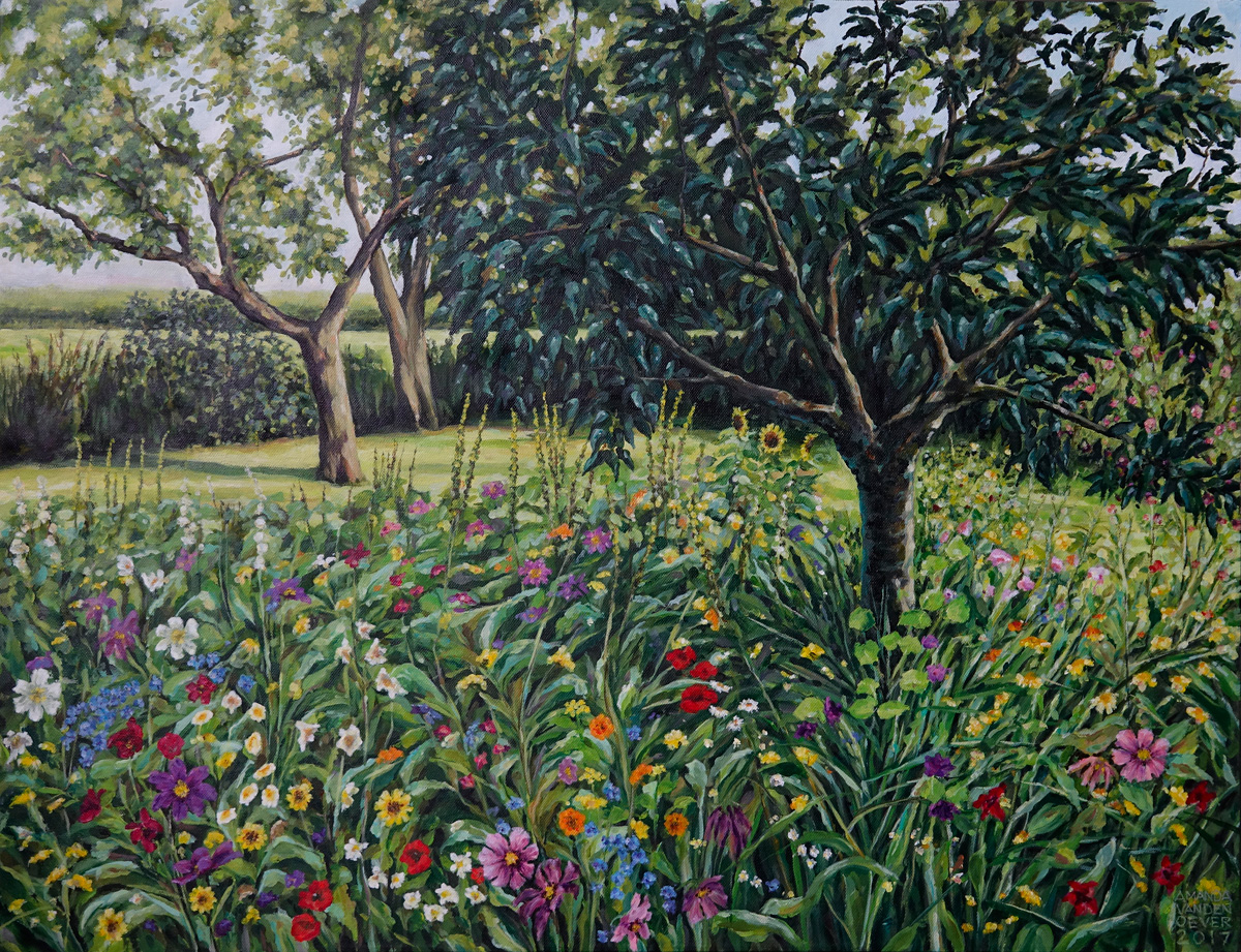Wild flowergarden with fruittrees