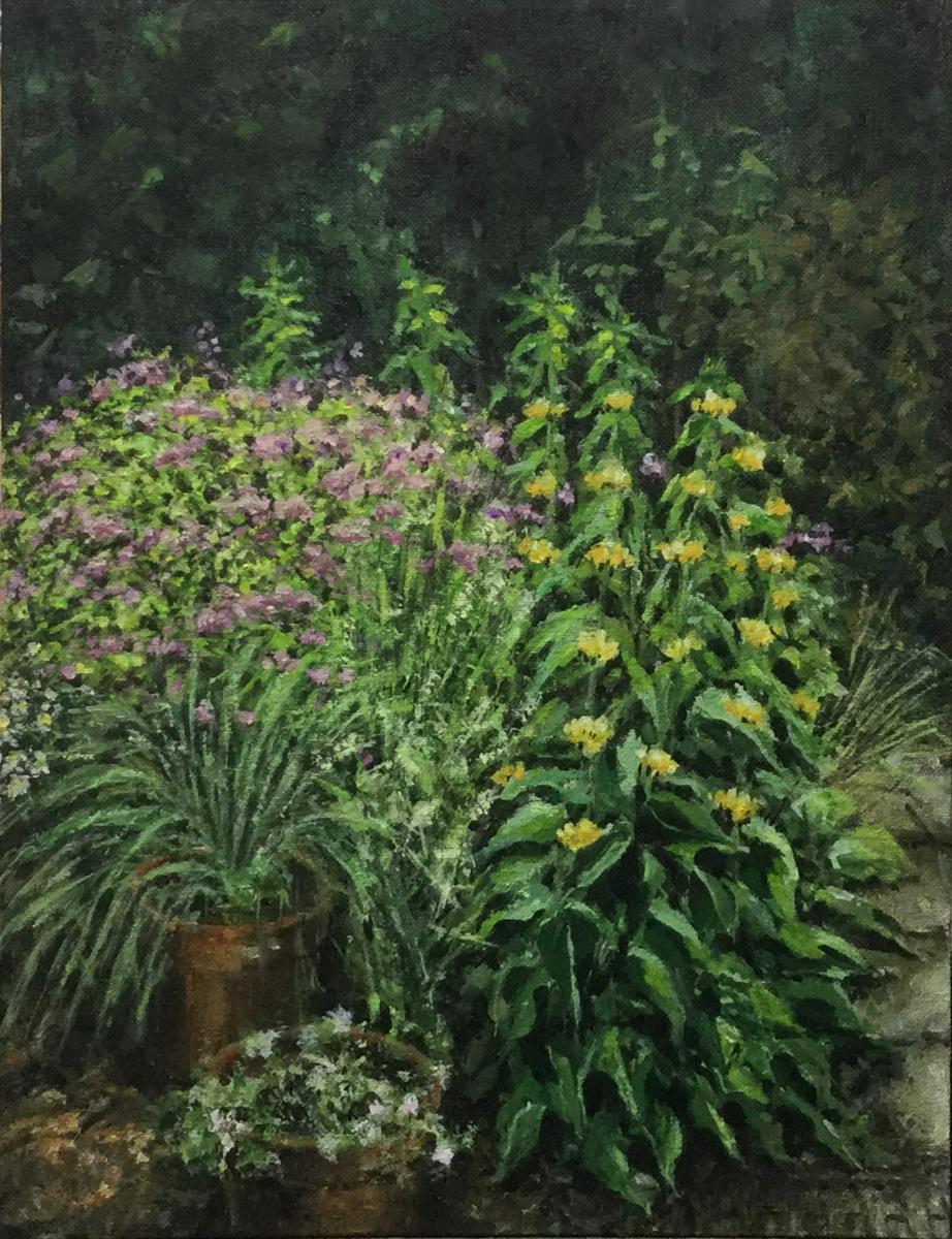 Een hoekje van onze tuin - Acryl op canvas board - 2018