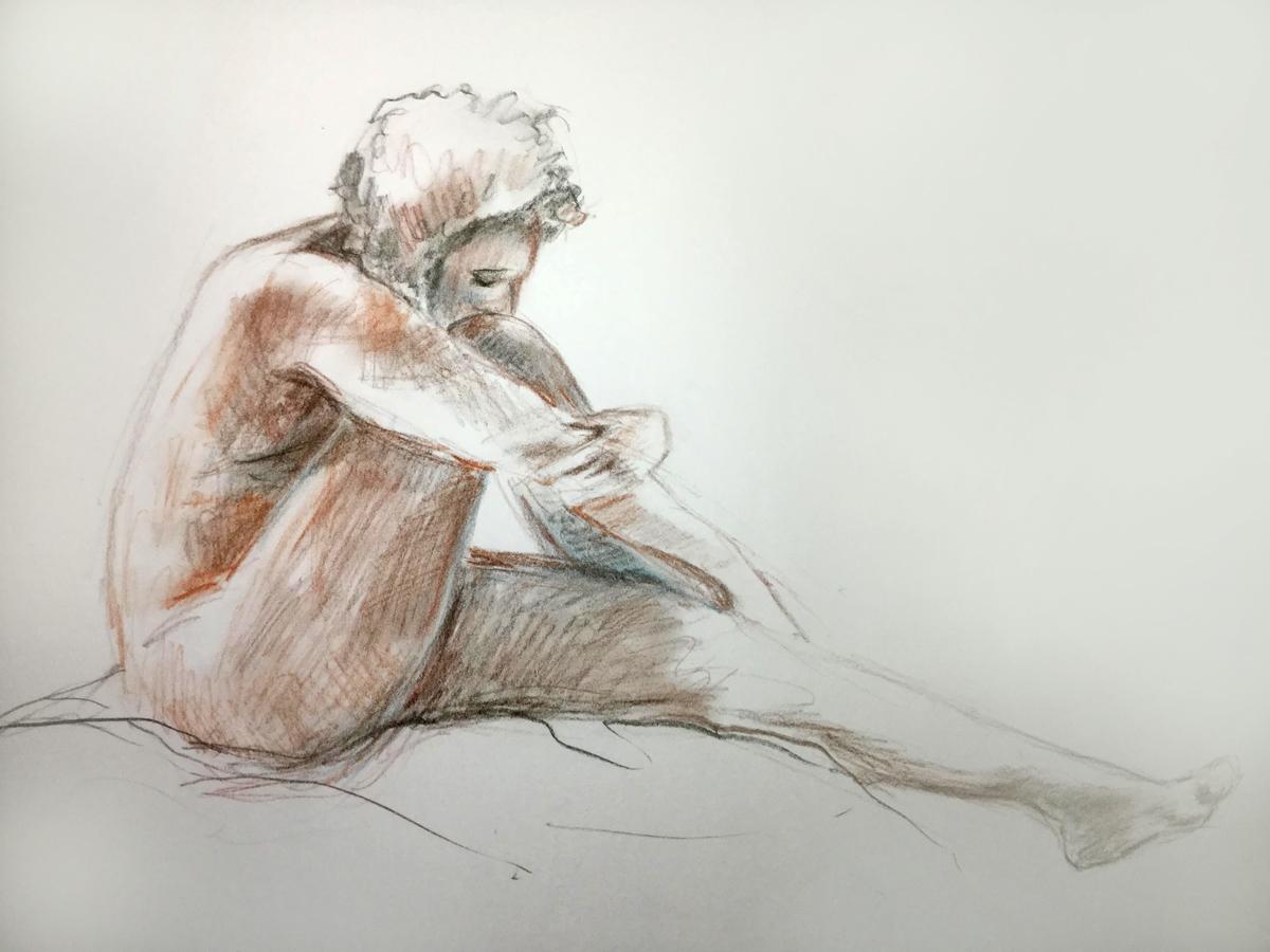 schets van vrouw in pastelkrijt