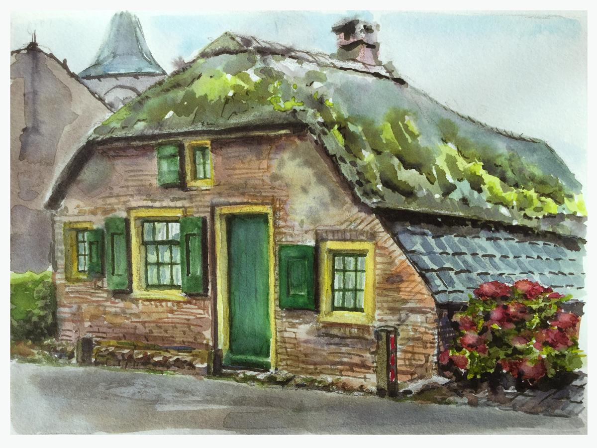 Oud huisje in Deil - aquarel
