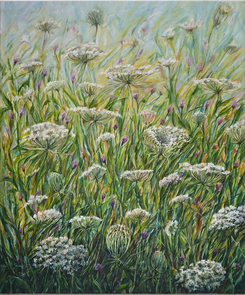 Schilderij van wilde peen in de berm - olieverf op llinnen - formaat 80 x 100 cm.
